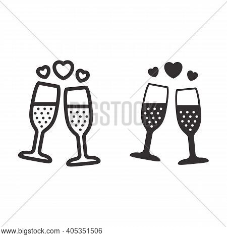 Champagne In Glass With Hearts Line And Solid Icon, Valentines Day Concept, Two Glasses Of Sparkling