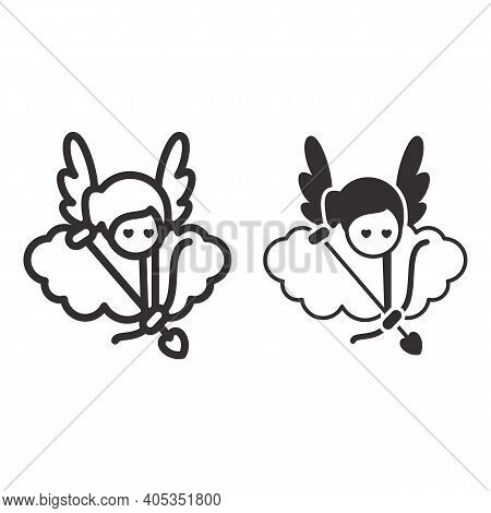 Angel With Arrow And Bow Line And Solid Icon, Valentines Day Concept, Cupid With Target On Cloud Sig