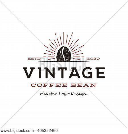 Vintage Hipster Coffee Bean Roaster Logo Design