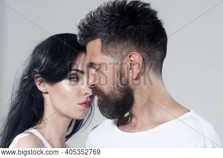Couple Each Other. Tender Passion. Close-up Face Each Other Of Lovely Pair. True Love. Man With Woma