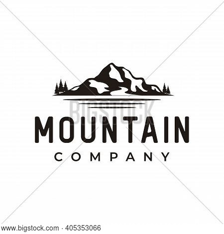 Mountain Landscape Silhouette With Sea And Lake River Forest Logo Design