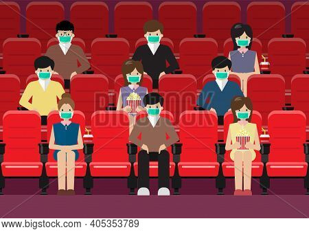 People In Movie Theater Lifestyle After Pandemic Covid-19 Corona Virus. New Normal Is Social Distanc