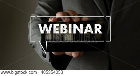 Webinar Hand On Table Use E-business Browsing Connection In Computer, Coffee Break In Classroom To U