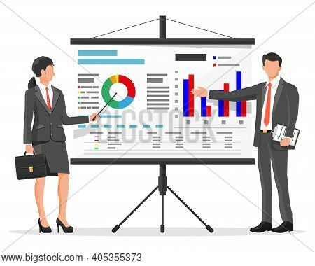 Businesswoman And Businessman In Suit Giving Presentation With Projector Screen. Tv Screen With Fina