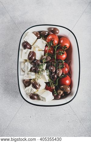 Chees Feta, Olive Oil, Kalamata Olives And Cherry Tomatoes For Baking , View From Above