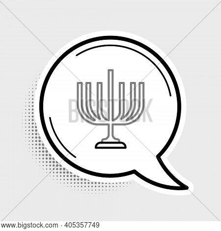 Line Hanukkah Menorah Icon Isolated On Grey Background. Hanukkah Traditional Symbol. Holiday Religio
