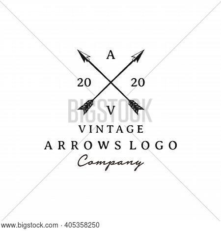 Vintage Rustic Hipster Crossed Arrow Logo Design