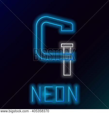 Glowing Neon Line Clamp And Screw Tool Icon Isolated On Black Background. Locksmith Tool. Colorful O
