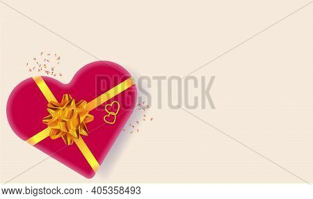 Red Heart Box With Golden Bow And Ribbon. Design For Valentine's Day, Wedding, Mother's Day