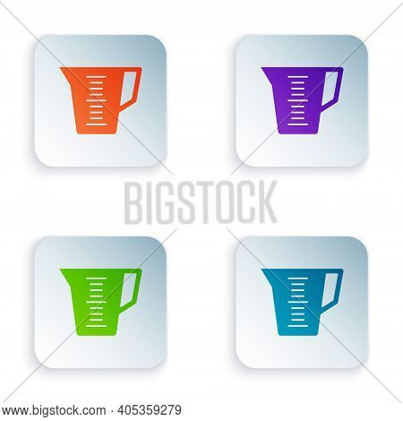Color Measuring Cup To Measure Dry And Liquid Food Icon Isolated On White Background. Plastic Gradua