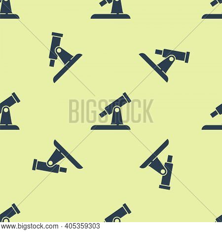 Blue Telescope Icon Isolated Seamless Pattern On Yellow Background. Scientific Tool. Education And A