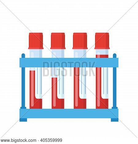 Test Tube With Blood On Rack. Blood Samples In Glass Vials. Web Site Page And Mobile App Design Elem