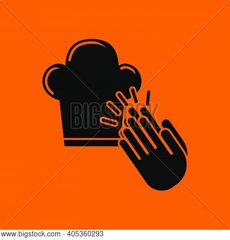 Clapping Palms To Toque Icon. Black On Orange Background. Vector Illustration.
