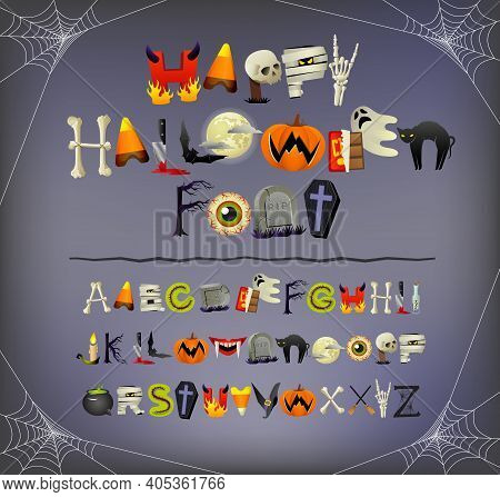 Halloween Font Alphabet Illustrated With Halloween Icons And Theme Elements Such As Pumpkins, Skelet