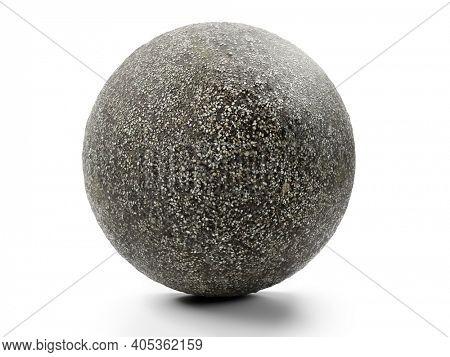 3D rendering of fine-grainde gravel sphere sphere on white background