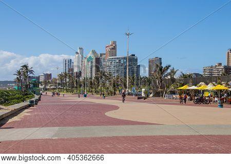 Paved Promenade Walkway At Durban\\\'s Golden Mile On Beachfront