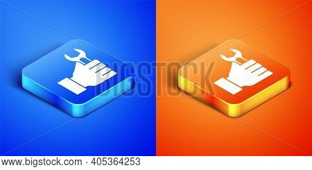 Isometric Wrench Spanner Icon Isolated On Blue And Orange Background. Square Button. Vector