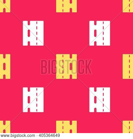Yellow Special Bicycle Ride On The Bicycle Lane Icon Isolated Seamless Pattern On Red Background. Ve