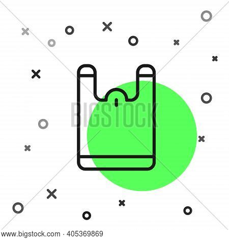 Black Line Plastic Bag Icon Isolated On White Background. Disposable Cellophane And Polythene Packag