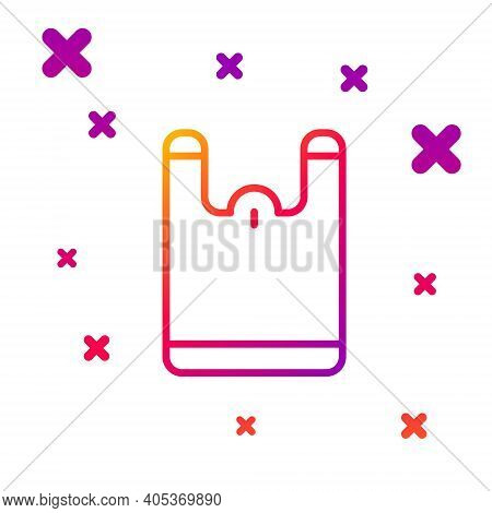 Color Line Plastic Bag Icon Isolated On White Background. Disposable Cellophane And Polythene Packag
