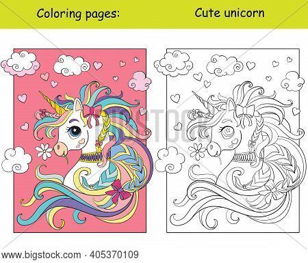 Cute Romantic Unicorn Portrait With Hearts In The Cloudy Sky. Coloring Book Page Wih Colored Templat