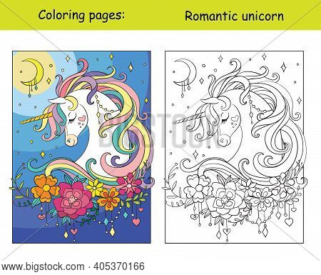 Romantic Unicorn Portrait With Moon And Stars In The Cloudy Sky. Coloring Book Page Wih Colored Temp