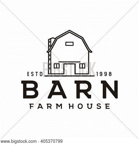 Vintage Retro Line Art Golden Wood Barn Farm Minimalist Logo Design