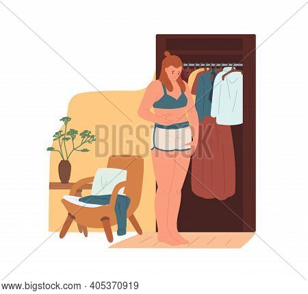 Sad Woman Standing Near Wardrobe And Touching Her Belly. Female Character With Overweight Upset Abou
