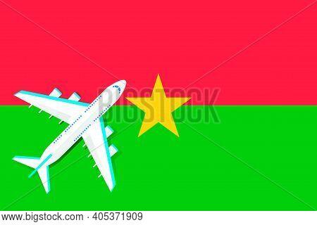 Plane And Flag Of Burkina Faso. Travel Concept For Design