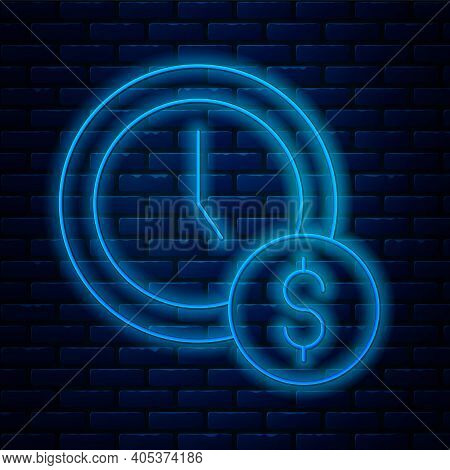 Glowing Neon Line Time Is Money Icon Isolated On Brick Wall Background. Money Is Time. Effective Tim