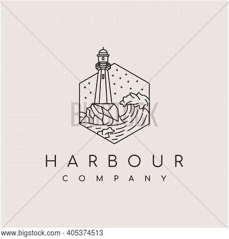 Line Art Lighthouse Searchlight Beacon Tower Island Beach Coast Logo Design
