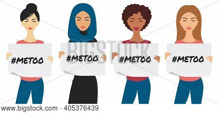 Different Ethnicity Women Holding Signs That Read Me Too.