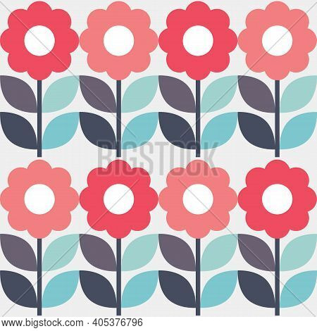 Retro Geometric Mid-century Modern Vector Seamless Pattern With Flowers, Funky Textile Or Fabric Pri