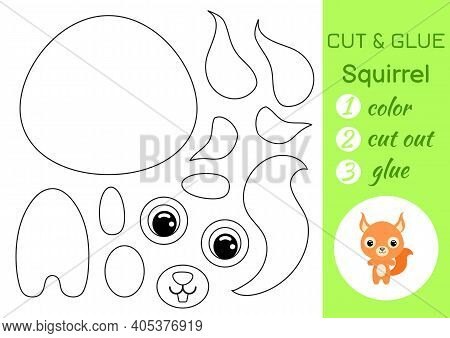 Coloring Book Cut And Glue Baby Squirrel. Educational Paper Game For Preschool Children. Cut And Pas