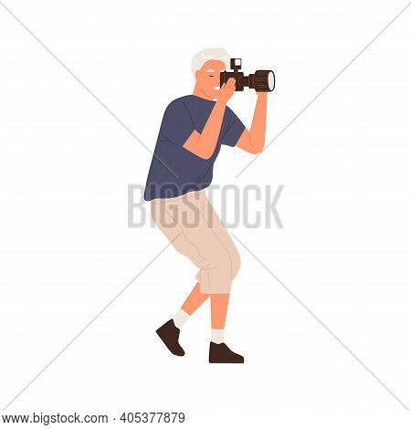 Side View Of Professional Male Photographer Holding Digital Photo Camera And Taking Pictures. Modern