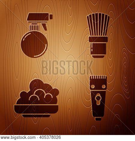 Set Electrical Hair Clipper Or Shaver, Hairdresser Pistol Spray Bottle, Shaving Gel Foam And Shaving