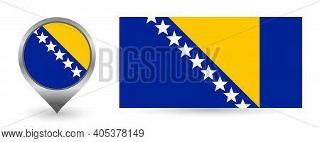 Vector Flag Bosnia And Herzegovina. Location Point With Flag Bosnia And Herzegovina