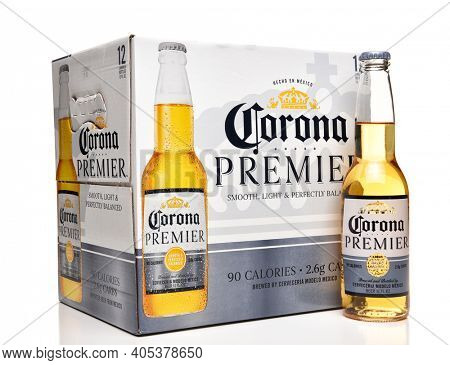 IRVINE, CALFORNIA - FEBRUARY 17, 2019: Corona Premier 12 Pack  bottles, Corona Premier is premium light beer with 2.6 grams of carbs and 90 calories.