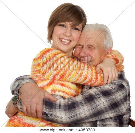 Happy Grandchild Hugs A Happy Grandad