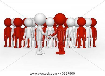 3D Business Men Shaking Hands