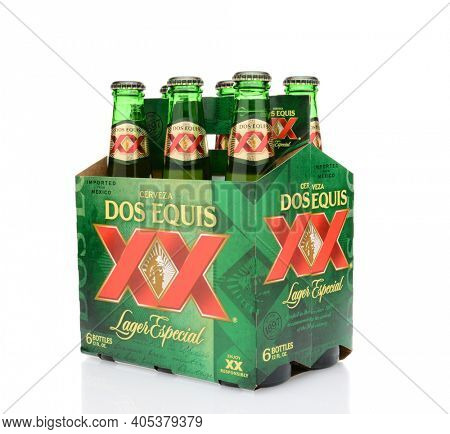 IRVINE, CA - MAY 25, 2014: A three quarters view of a 6 pack of Dos Equis Lager Especial.
