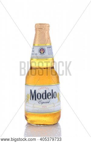 IRVINE, CA - JUNE 14, 2015: A single bottle of Modelo Especial. First brewed in 1925 it is the #2 imported beer in the United States, selling over 22 million cases a year.