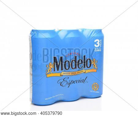 IRVINE, CALIFORNIA - MARCH 21, 2018: 3 pack of Modelo Especial cans. First bottled in 1925, Modelo Especial is the number 2 imported beer in the U.S. by case sales.