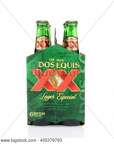 IRVINE, CA - MAY 25, 2014: 6 pack of Dos Equis Lager Especial end view. Founded in 1890 from the Cuauhtemoc-Moctezuma Brewery in Monterrey, Mexico a subsidary of Heineken International.