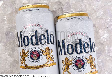 IRVINE, CALIFORNIA - MARCH 21, 2018: Two cans of  Modelo Especial on ice closeup. First bottled in 1925, Modelo Especial is the number 2 imported beer in the U.S. by case sales.