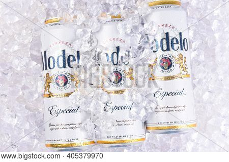 IRVINE, CALIFORNIA - MARCH 29, 2018: King cans of Modelo Especial on ice. First bottled in 1925, Modelo Especial is the number 2 imported beer in the U.S. by case sales.