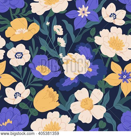 Elegant Seamless Floral Pattern With Irises, Peonies, Daffodils And Anemones. Endless Design With Go