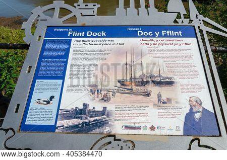 Flint, Flintshire; Uk: Sept 17, 2020: A Visitor Information And Interpretation Board At Flint Dock H