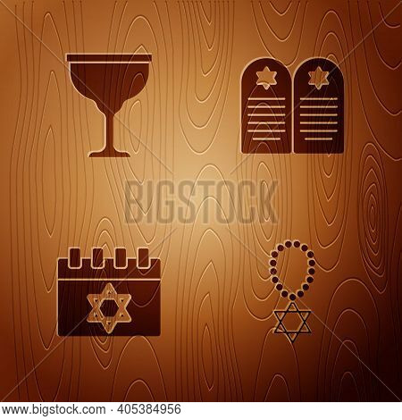 Set Star Of David Necklace On Chain, Jewish Goblet, Calendar And Tombstone With Star David On Wooden