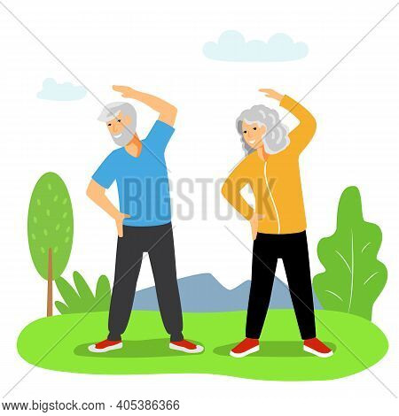 Exercises For The Elderly An Elderly Woman And An Elderly Man Doing Fitness In The Fresh Air They Le